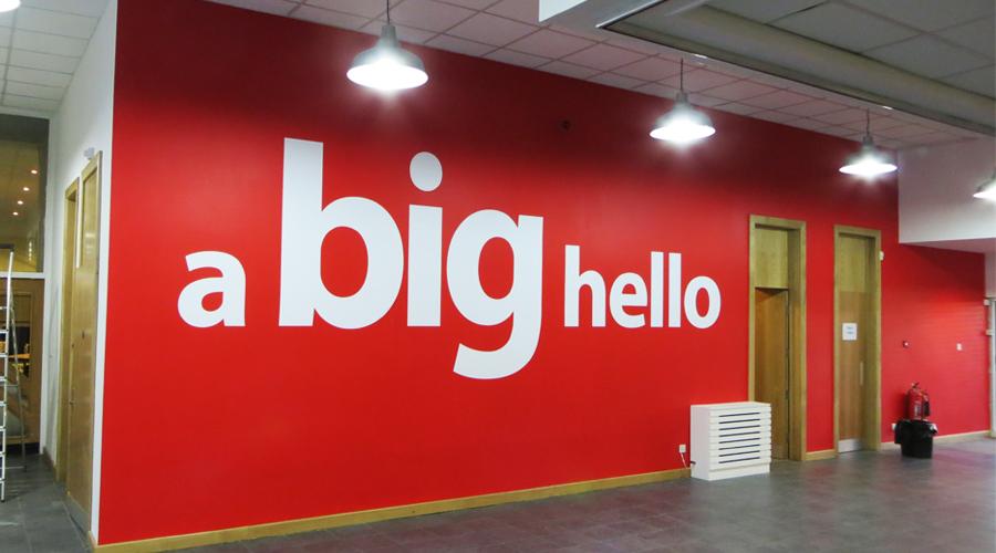 'A big hello' vinyl wall graphics