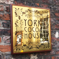 Gold etched outdoor plaque - York Cocoa House