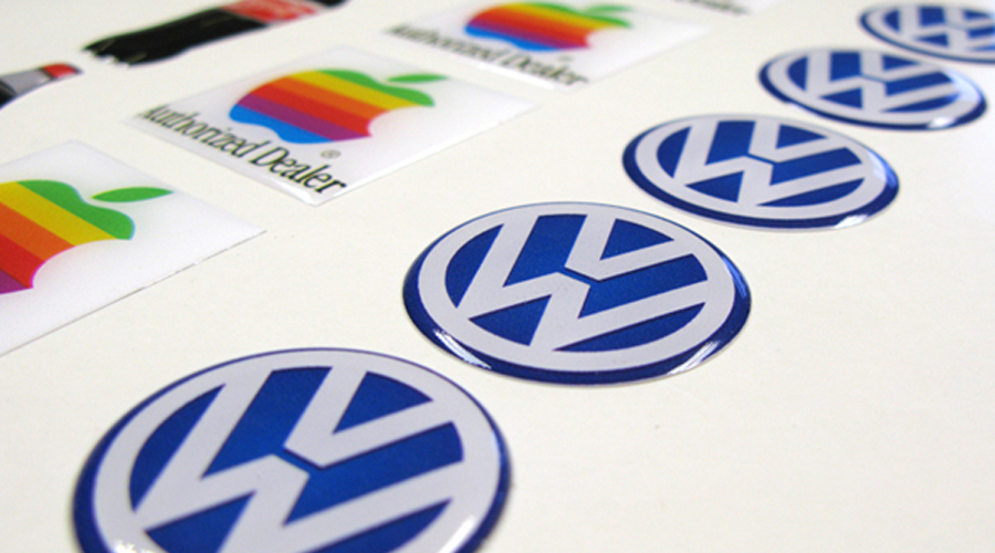 Domed logo stickers printed by Space 3 Creative