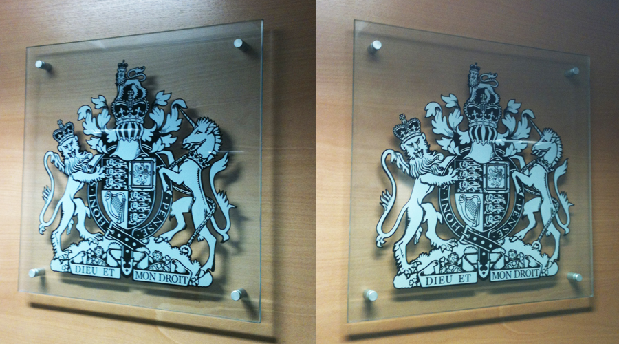 Court Crest Printed onto Glass Plaque