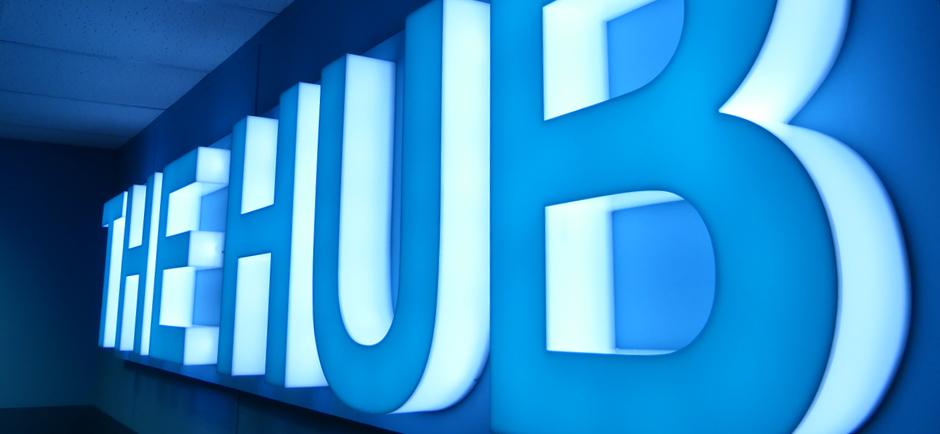 The Hub 3d Lit up signage