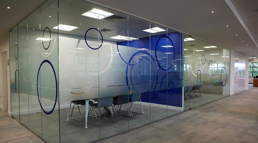 Office Glass Frost with blue Circles