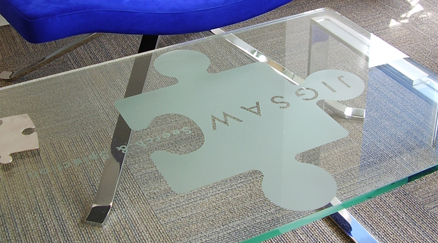 Frosted logo on glass table