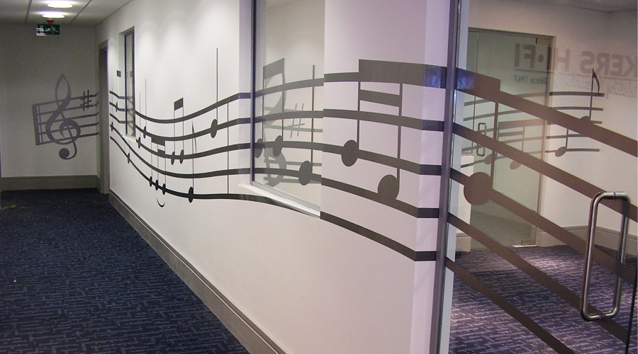 Music wall and glass graphics