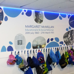 Blue Cloak Room Wall Mural and LEDs