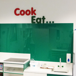 Cook Eat lettering scool kitchen display