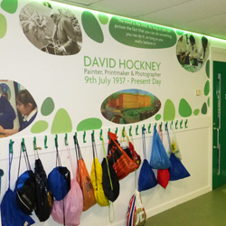 Green Cloak Room Wall Mural and LEDs