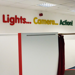 Lights Camera Action school display lettering