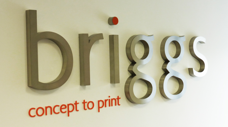 Briggs 3D stainless steel interior sign