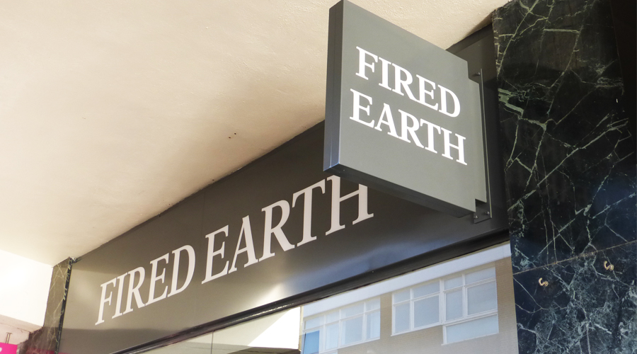Fired Earth Projecting Shop Sign