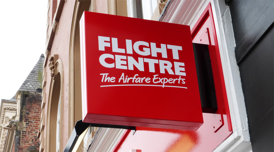 Flight Center projecting Sign