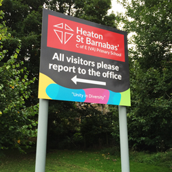 Bradford School Exterior Post Sign
