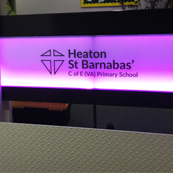 School Vinyl Logo on Acrylic Balustrade