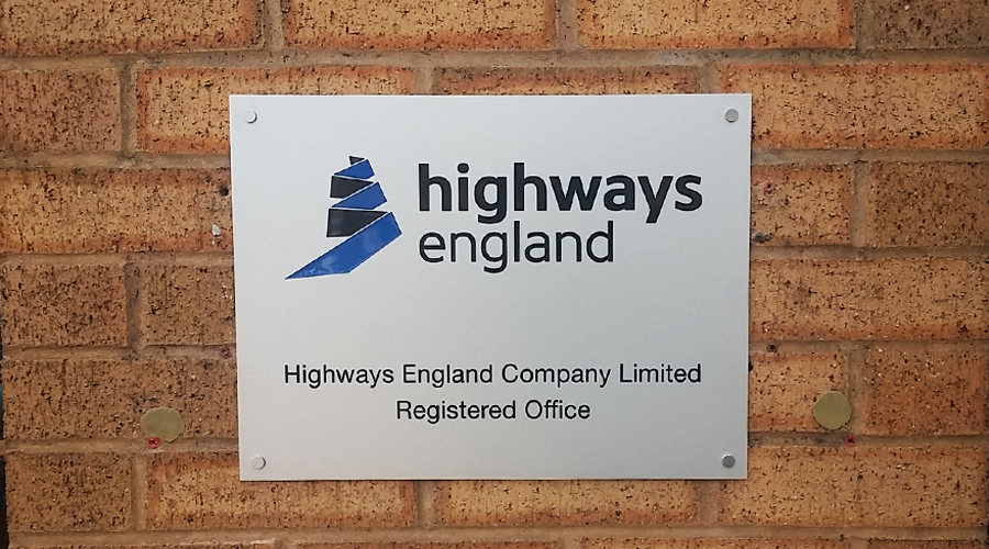 Highways England Brushed Stainless Steel Sign