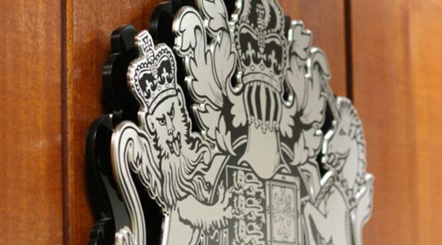 Interior Court Crest Mounted on wood and acrylic