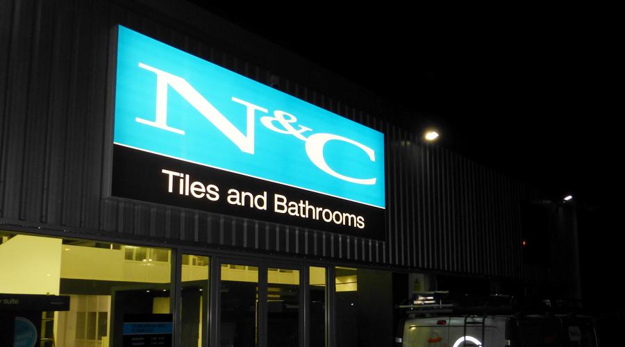 N&C Tiles lightbox Sign