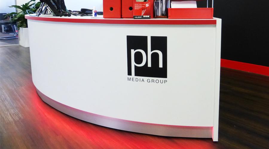 PH Media Reception Desk Logo and Red LED lighting