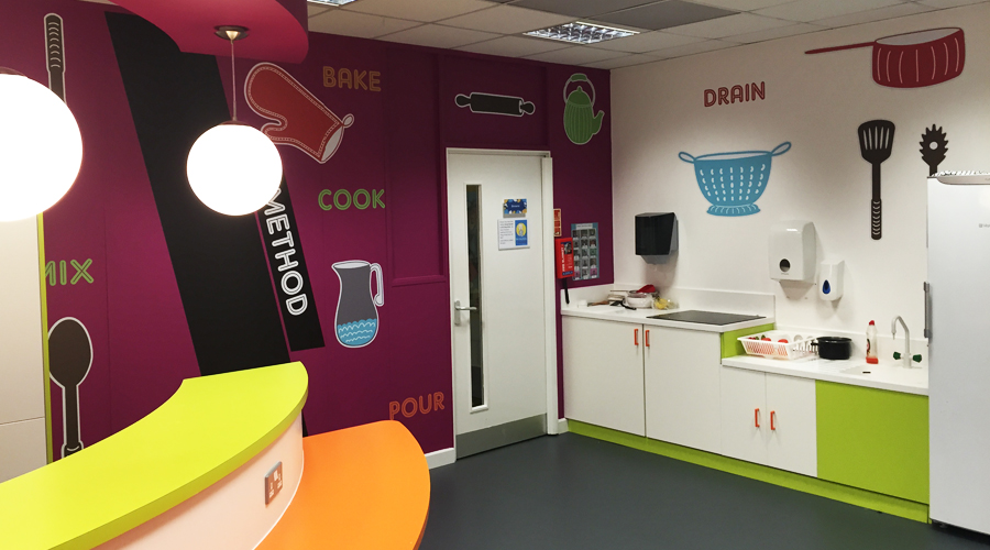School Kitchen Wall Graphics Illustration