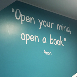 Open Your Mind Open A Book Library wall quote