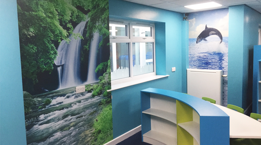 School Waterfall and Whale Wall Mural