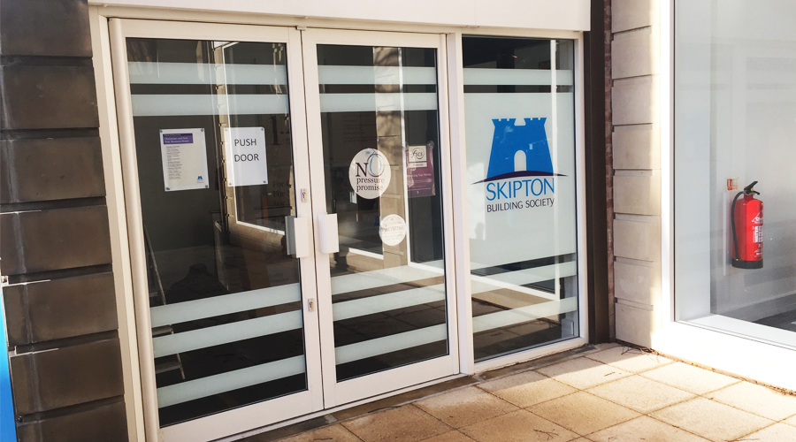Skipton Building Society Entrance Glass logo and Stripes