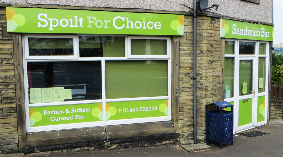 Spoilt For Choice Sandwich Shop Sign Huddersfield