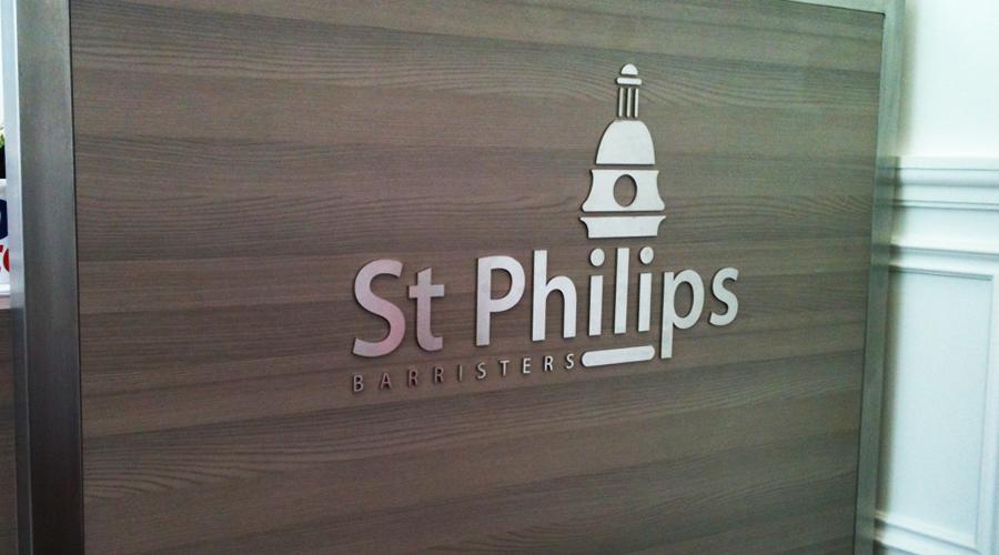 St Phillips Flat Cut Silver letters Reception Desk Sign