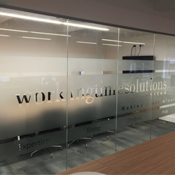 Frosted Glass with cut out logo