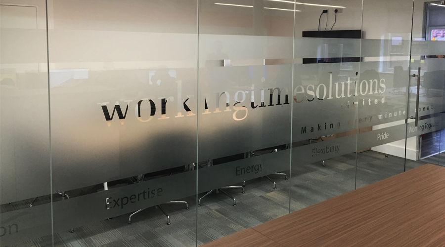 Working Time Solutions Frosted Glass with Cut out Logo