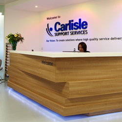 Reception desk blue LED lightinf