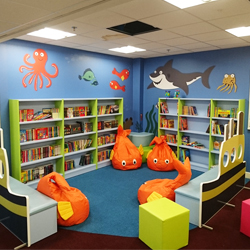 Illustrated wall mural in school library