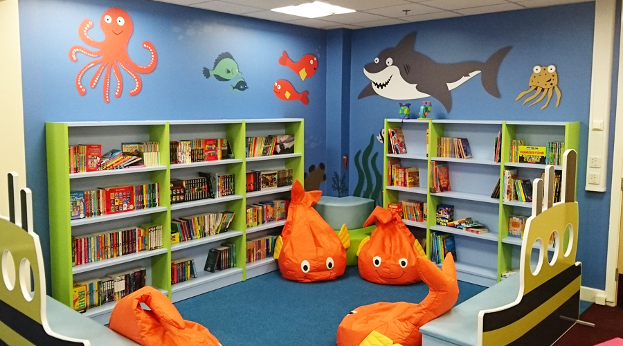 Edward HEaneage Library illustrated under sea wall mural