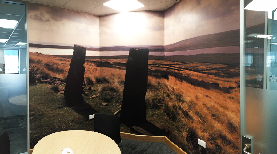 Standing Stone Ilkley Moor wall mural on cureved wall