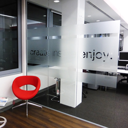 Frosted Glass with cut out lettering 'Create, Inspire, Enjoy