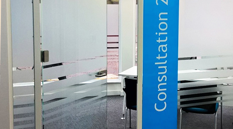 ... Plain Striped Frost ... & Glass Manifestation \u2013 Space3 \u2013 Signage Graphics Display Yorkshire