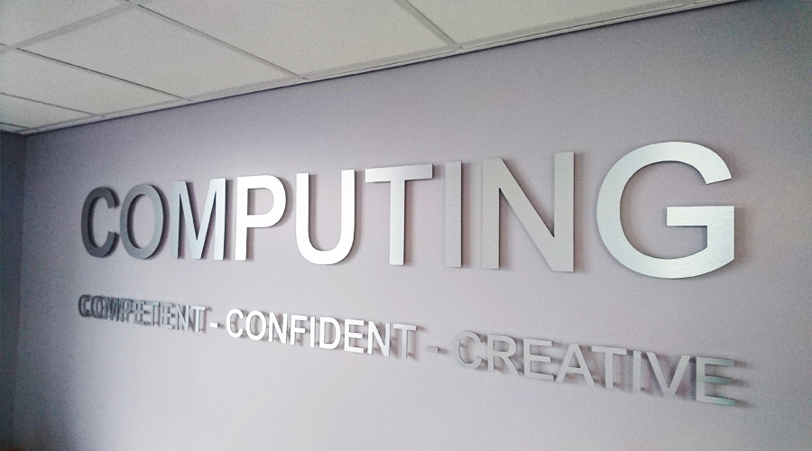 'Computing' Computer Area stainless steel sign
