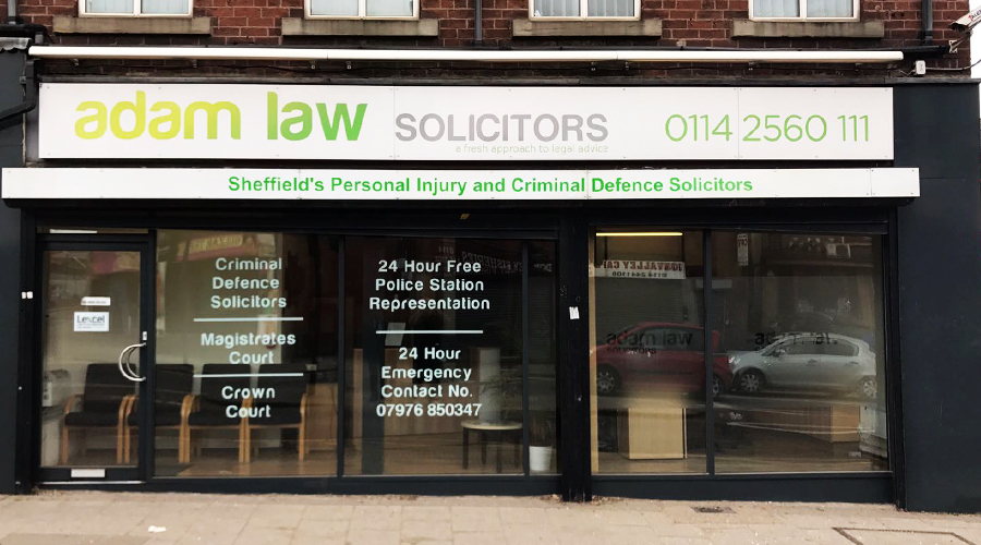 Adam Law solicitors shop front signage and window graphics
