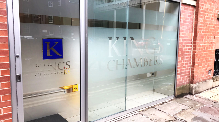 Kings Chambers Exterior Window Frost with logo