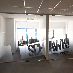 logo on glass partition