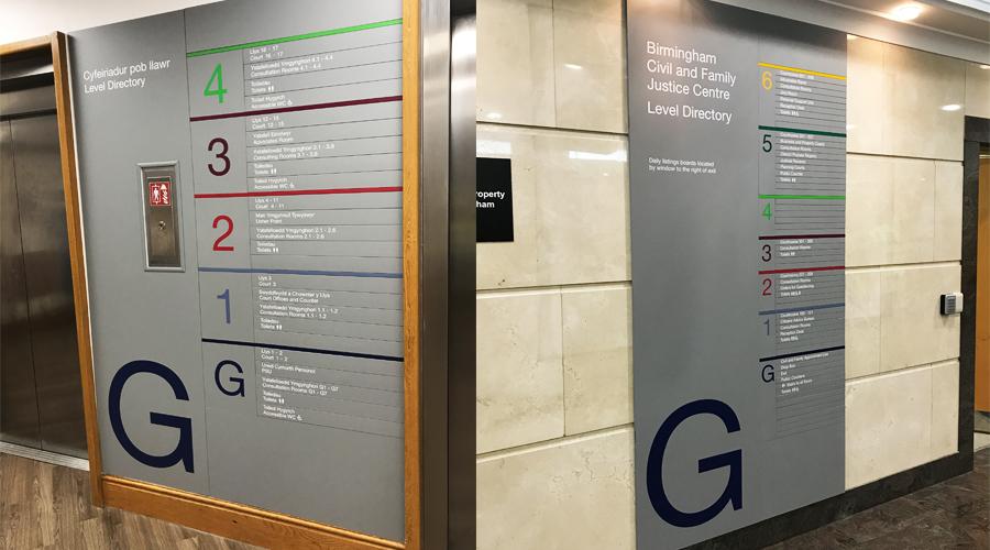 Court lift slat signage