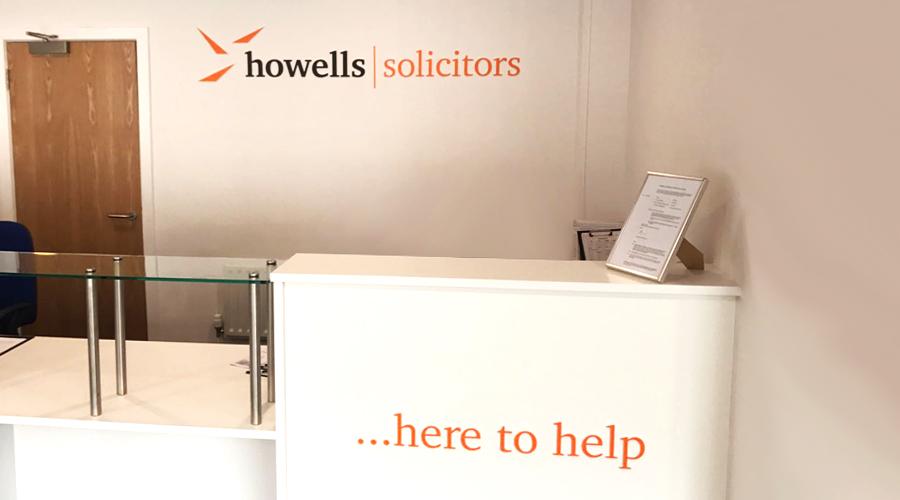 Howells Reception Desk acrylic lettering