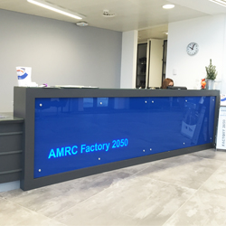 LED illuminated reception desk sign