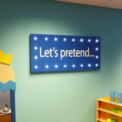 Lets Pretend Display with spotlights for shchool nursery