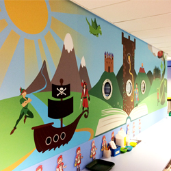 Storytime Wall Mural illustrated for school nursery