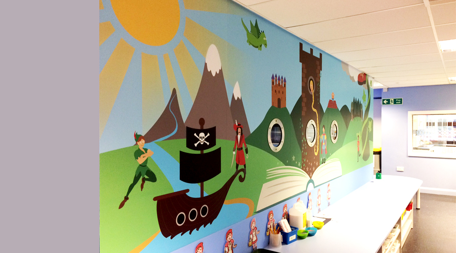 Storytime Wall Mural Illustrated