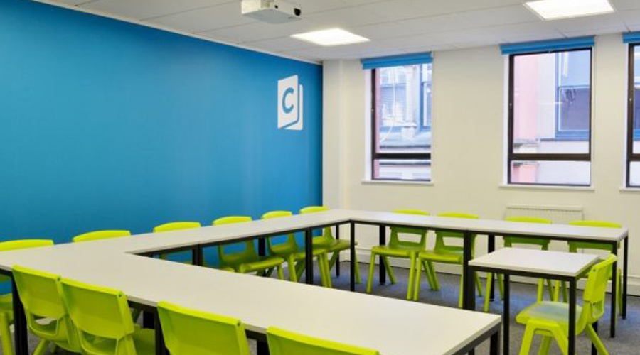 classroom vinyl logo on wall
