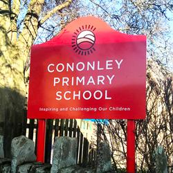 Cononley School Post sign