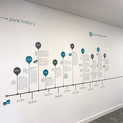 Vinyl timeline graphics in office