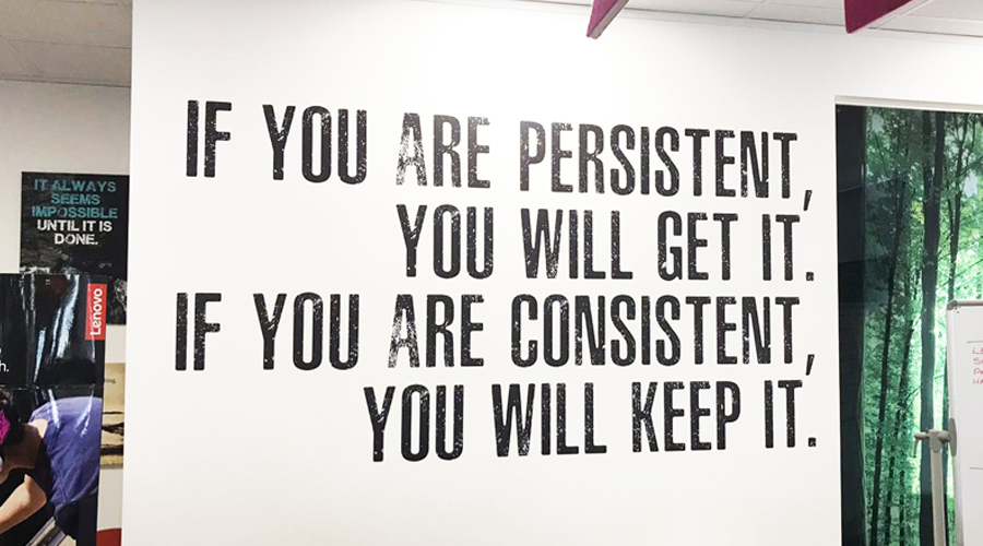 Vinyl Office Wall Quote - Persistence