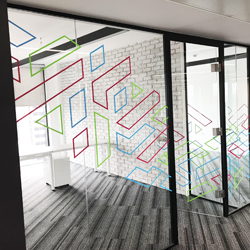 Colourful Glass Manifestation for office partition